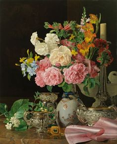 'Flowers in a Porcelain Vase with Candlestick and Silver Vessels' (1839) by Ferdinand Georg Waldmüller