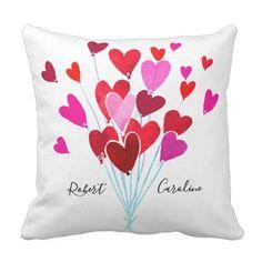 Red and Pink Valentine Hearts Add Name Monogram Throw Pillow - Saint Valentine's Day gift idea couple love girlfriend boyfriend design