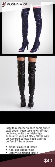 Thigh high peep toe faux leather stiletto boots NEW black thigh high peep toe stiletto boots . Faux leather. Really sexy and cute! Open to offers!! Shoes Over the Knee Boots