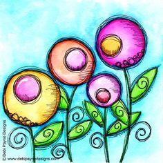 Sweet little flowers for doodle flower Friday!  #doodleflowers #doodleart #happyart #debipaynedesigns