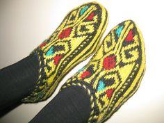 yellow slippers women slipperswinter fashionHand by AnkaraFlavour, $25.00