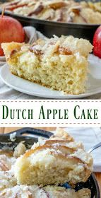 This dutch apple cake recipe has been in my family for generations. It is a simple cake topped with apples and plenty of golden topping. It is great as a coffee cake at breakfast, for an afternoon treat or as a simple dessert. You can take it straight from my great-great grandma's recipe box and put it into yours! Apple Cake Recipes, Pear Recipes, Best Dessert Recipes, Cookie Recipes, Fall Recipes, Breakfast Recipes, No Cook Desserts, Easy Desserts, Delicious Desserts