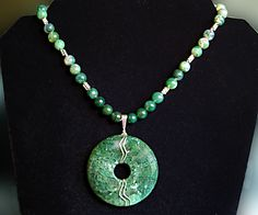 Moss Agate Donut w/ Necklace of Matching Round & Sterling Beads
