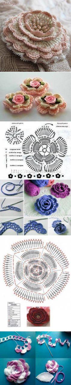 Flores de crochê chiques
