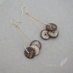 """Repurposed Coconut Shell Tire Beads Hanging on 16k Gold Plate Flattened Curb Chain, Approx 2.75"""" Earrings"""