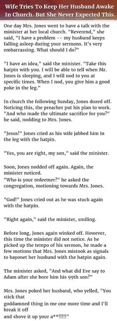 Wife Tries To Keep Her Husband Awake In Church But Never Expected This... funny jokes story lol funny quote funny quotes funny sayings joke hilarious humor stories marriage humor funny jokes