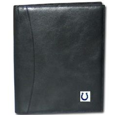 """Checkout our #LicensedGear products FREE SHIPPING + 10% OFF Coupon Code """"Official"""" Indianapolis Colts Leather Portfolio - Officially licensed NFL product Licensee: Siskiyou Buckle Genuine fine grain leather wallet Credit card slots Fits standard writing tablet, tablet not included Metal Indianapolis Colts emblem with enameled team colors - Price: $51.00. Buy now at https://officiallylicensedgear.com/indianapolis-colts-leather-portfolio-flp050"""