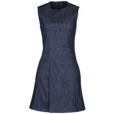Victoria Beckham Short Dress ($635) ❤ liked on Polyvore featuring dresses, blue, zipper mini dress, short blue dresses, no sleeve dress, short dresses und blue sleeveless dress