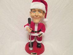 RARE 2001 Bing Crosby Singing Santa Doll w' Pipe & Vintage Mic from Gemmy $44.99
