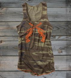 Country Girl Store - Juniors Crossed Guns Camo Racerback Tank