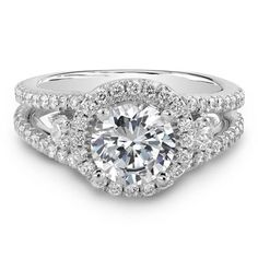 Unique 3 Stone Ring Settings | ... Rings: 14k White Gold Three Stone Halo Diamond Engagement Ring
