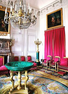 Malachite Salon at the Grand Trianon Versailles - malachite green and hot pink is such an amazing combo.  Throw in a little gold and crystal?  OMG