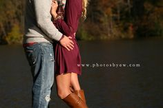 what to wear for fall engagement photos, dress with boots, plaid, ©Copyright… Fall Engagement Outfits, Engagement Photo Dress, Engagement Dresses, Engagement Couple, Engagement Photos, Winter Engagement Photography, Fall Couples Photography, Country Engagement, Wedding Photography
