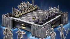 Only Bruce Wayne can afford this ludicrously expensive Batman chess set. Get yours at http://www.chessbazaar.com/