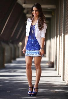 white blazer, blue lace top, printed mini skirt