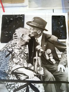 This photo, from the collection of the Union Veterans of the Civil War, shows Alice Carey Risley, the last surviving Civil War battlefield nurse, receiving a kiss from a veteran.