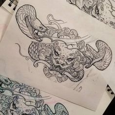 Foo Dog and snake sketch by Tommy (@tommyguo_chronicink) done at Chronic Ink Tattoo - Toronto, Canada