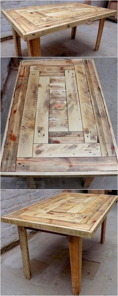 Reused Pallet Wood Coffee Table Reused pallet coffee table idea is really comfortable to design and in look. Simple stacking is adopted in this idea and the finishing and polishing on the pallet wood table is really making it dhiny and more glittering for Wooden Pallet Table, Wood Pallet Furniture, Wood Pallets, Diy Furniture, Pallet Wood, Diy Wood, Furniture Design, Pallet Dining Tables, Pallet Table Outdoor