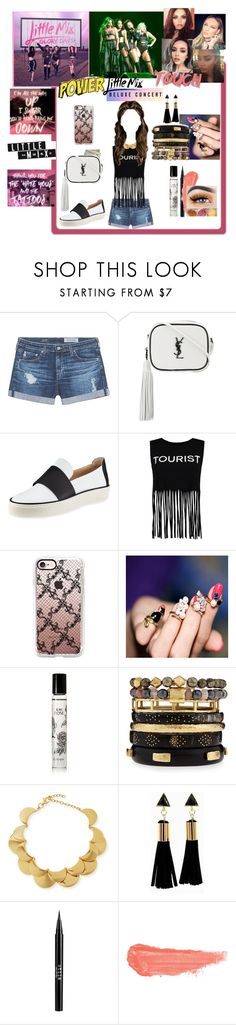 """""""LITTLE MIX CONCERT"""" by killasuki ❤ liked on Polyvore featuring AG Adriano Goldschmied, Yves Saint Laurent, Stuart Weitzman, Boohoo, Casetify, Diptyque, Ashley Pittman, Lele Sadoughi, Stila and By Terry"""