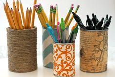 Latas para canetas e lápis