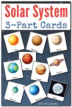 Montessori 3-Part cards featuring 10 objects from our solar system, including the sun, moon, and all eight planets. With colorful graphics, these are a great resource for helping kids to learn the names of the planets.  || Gift of Curiosity