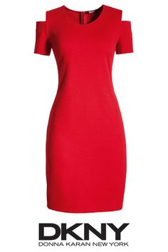 DKNY party dress with cutout shoulders
