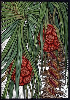 'Kakadu Pandanus' - Hand coloured linocut on handmade Japanese paper,  ltd. to fifty, by Rachel Newling, Australia