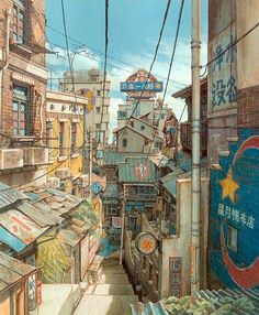"""""""Tekkonkinkreet"""" backgrounds by Shinji Kimura* Art of © Studio 4°C Animation Studios* • Blog/Website 