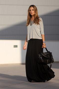 loose tshirt and black long skirt