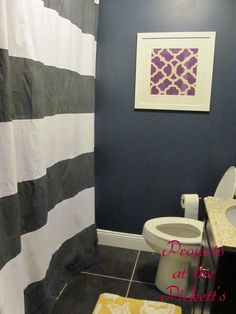 Projects at the Pickett's-painted shower curtain. Perfect! And she used a bed sheet.