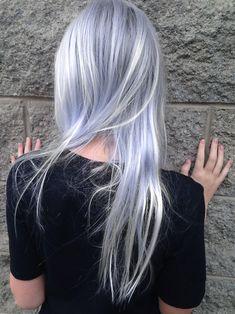 Silver Blue Hair, Pastel Blue Hair, Silver Blonde, Blue Ombre, Silver Ombre, Gray Hair, Hair Color Dark, Cool Hair Color, Silver Hair Highlights