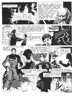 """For Don Newton's birthday, here is a retelling of Captain Marvel's origin he drew for the fanzine Rocket's Blast Special Comic Pictures, Comic Pics, Captain Marvel Shazam, Magic Words, Detective Comics, Green Arrow, Retelling, Aquaman, Golden Age"