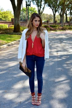 Blogger of http://www.superfashionable.com is looking beautiful in our Sunset Silk Tee by Talina Hermann