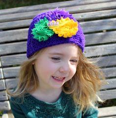 Infant to Adult Purple Mardi Gras Hat, Shabby Chic Mardi Gras Hat, Hand Crochet Mardi Gras Carnival Hat, Purple Beanie Hat, Winter Hat by LaBandeauxBowtique on Etsy