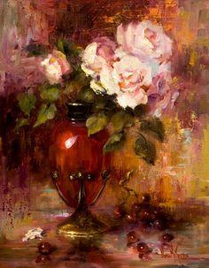 """Roses in Tiffany"" by Nora Kasten. Flower Painting Canvas, Garden Painting, Oil Painting Flowers, Painting Art, The Joy Of Painting, Still Life Flowers, Still Life Art, Arte Floral, Eye Art"