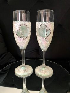 13 Birthday, 13th Birthday Parties, Glitter Wine Glasses, Champagne Glasses, Decorated Wine Glasses, Two Hearts, Decorations, Tableware, Party