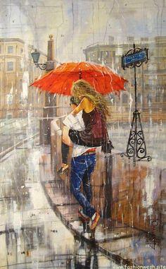 Super Dancing In The Rain Illustration Ideas Romantic Art, Rain Illustration, Art Painting, Rain Art, Art Drawings, Amazing Art, Painting, Umbrella Art, Canvas Painting