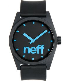 The Neff Daily black and cyan blue Corpo watch.