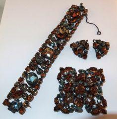 Z Vtg Signed Schreiner Brooch Bracelet Earrings Blue Amber Rhinestone Set SKU 6 | eBay