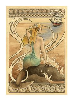 "Mermaid sits on a water sprayed rock in the ocean and watches a ship approach, art nouveau border - Art Reproduction (Print) - ""Mermaid"". $35.00, via Etsy."