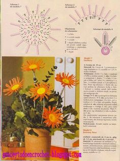 Different flower designs with diagrams... Diferentes diseños de flores con diagramas!
