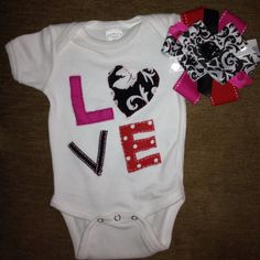 Valentines Day Love onesie with matching bow!!