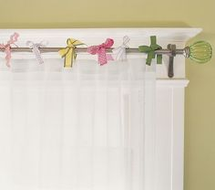 Pottery Barn Kids offers kids & baby furniture, bedding and toys designed to delight and inspire. Short Curtains, Hanging Curtains, Valance Curtains, Ribbon Curtain, Little Girl Rooms, Baby Furniture, Decorating On A Budget, Pottery Barn Kids, Office Decor