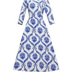 Tata Naka Porcelain Wallpaper Off Shoulder Dress (31 325 UAH) ❤ liked on Polyvore featuring dresses, 3/4 length sleeve dresses, off shoulder dress, off shoulder cocktail dress, print cocktail dress e pattern dress