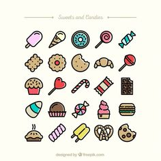 Sweets and candies icons Free Vector Cute Food Drawings, Doodle Drawings, Easy Drawings, Doodle Art, Doodles Kawaii, Food Doodles, Cute Doodles, Griffonnages Kawaii, Doodles Bonitos