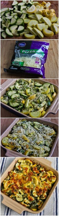 Easy Cheesy Zucchini Bake. I'd use better quality cheese...c'mon, it's not that difficult or time-consuming to shred cheese!