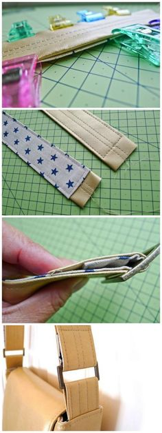 How to make (less bulky) leather bag straps. Makes them much easier to sew and can be used for any bag pattern.