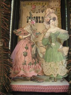 Wouldn't it be fun to make paper dolls of your dinner guest to use as place markers! Paper Dolls Printable, Shabby Chic Crafts, Victorian Dolls, Pretty Box, Vintage Paper Dolls, Assemblage Art, Jar Crafts, Box Art, Altered Art