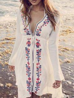 White Print Dress V Neck Going out Boho Floral Beach Dress – lalasgal Beach Wear Dresses, Casual Dresses, Maxi Dresses, Dress Beach, Dress Summer, Beach Kaftan, Denim Dresses, Dress Outfits, Wedding Dresses