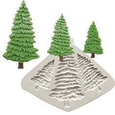Katy Sue Designs Fir Trees Flexible Silicone Mould - from Lakeland Christmas Cake Decorations, Christmas Ornaments, Holiday Decor, Creative Cake Decorating, Shape Templates, Mould Design, Little Christmas Trees, Tree Shapes, Color Melting